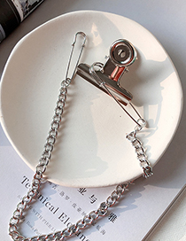 Fashion Silver Metal Clip Chain Brooch