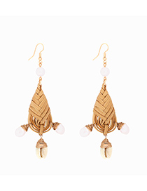Fashion Light Coffee Alloy Rattan Dripping Conch Pearl Earrings