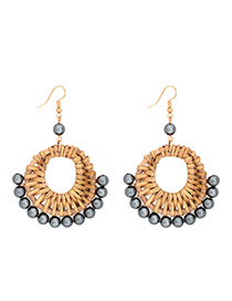 Fashion Black Alloy Pearl Rattan Earrings
