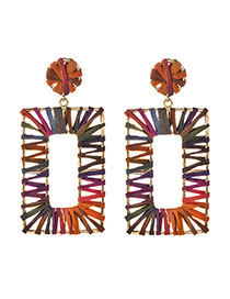 Fashion Colorful Gray Alloy Raffia Rectangular Stud Earrings