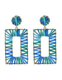 Fashion Blue-green Alloy Raffia Rectangular Stud Earrings
