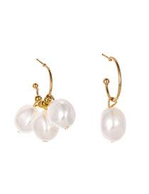 Fashion Gold Alloy Pearl Asymmetric Earrings