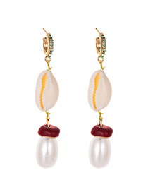 Fashion Gold Alloy Diamond Shell Pearl Earrings