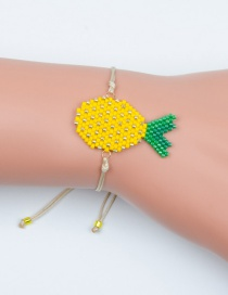 Fashion Yellow Rice Beads Woven Pineapple Bracelet