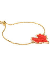 Fashion Red Rice Bead Braided Heart Bracelet Plated Gold Bracelet