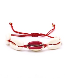 Fashion Red + White Natural Shell Drop Oil Couple Bracelet