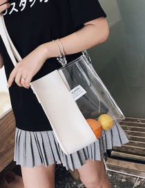 Fashion White Stitched Transparent Shoulder Bag Sliver Jelly Pack
