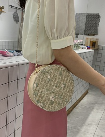 Fashion Khaki Straw Chain Shoulder Messenger Bag