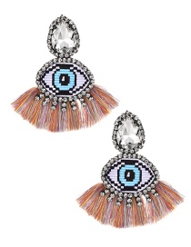 Fashion Color Alloy Rhinestone Eye Tassel Earrings