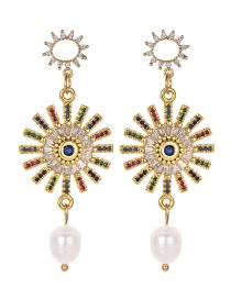 Fashion Gold Copper Inlaid Zircon Natural Pearl Geometric Earrings