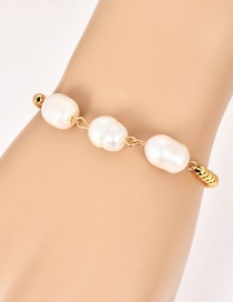 Fashion Gold Copper Inlaid Zircon Natural Pearl Beaded Bracelet