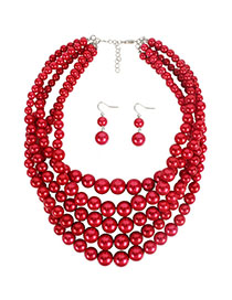 Fashion Red Imitation Pearl Multi-layer Necklace