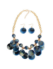 Fashion Blue Streaming Bead Necklace