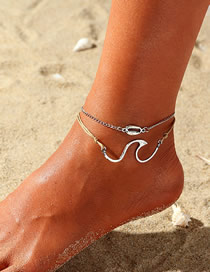 Fashion Silver Alloy Shell Wave Anklet