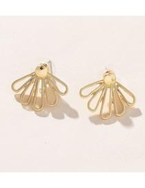 Fashion Gold Openwork Lotus Stud Earrings