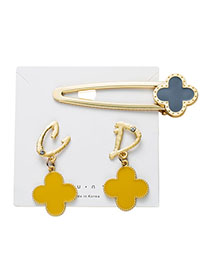 Fashion Yellow Four-leaf Clover Multicolored Oil Earrings Hair Accessory Set