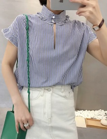 Fashion Blue Color Strips Full Cotton Side Short Sleeves