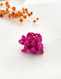 Fashion Rose Red Rice Bead Resin Elastic Ring