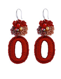 Fashion Red Woven Rice Beads Oval Earrings