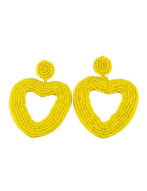 Fashion Yellow Love Rice Beads Earrings