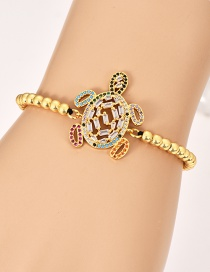Fashion Gold Copper Inlaid Zircon Beaded Turtle Bracelet
