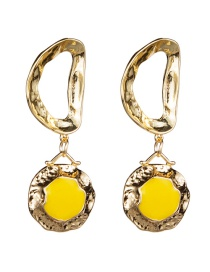 Fashion Yellow Geometric Hollow Drop Earrings