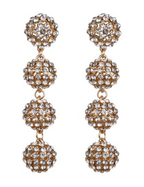 Fashion Gold Multi-layer Acrylic Diamond Ball Earrings