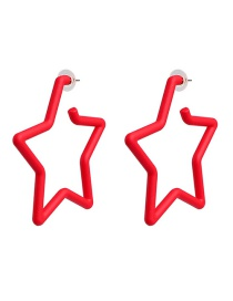 Fashion Red Geometric Pentagram Acrylic Earrings
