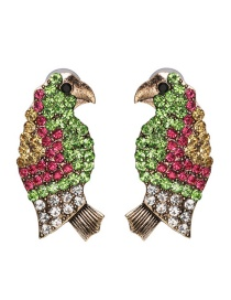 Fashion Green Color Woodpecker Stud Earrings With Diamond Earrings