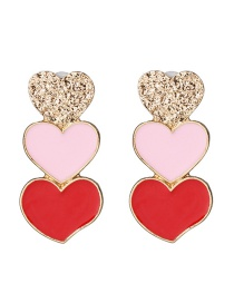 Fashion Color Three Heart Drop Earrings