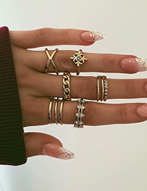 Fashion Gold Alloy Ring Set Of Eight
