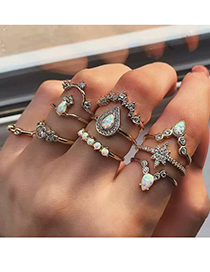 Fashion Gold Alloy Resin Ring Set Of Ten