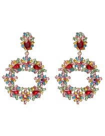 Fashion Color Geometric Small Flower Diamond Earrings