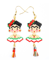 Fashion Color Small Tassel Mexican Flag Earrings