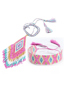 Fashion Pink Suit Woven Fringed Contrast Necklace Bracelet Set