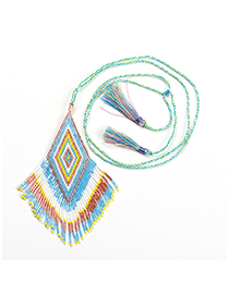 Fashion Blue Necklace Fringed Woven Necklace Bracelet Set