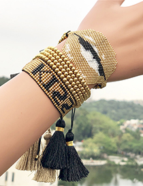 Fashion Golden Suit Kiss Lip Woven Bracelet Set