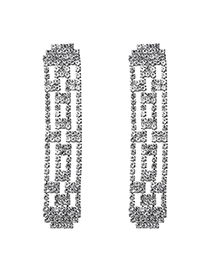 Fashion Silver Openwork Diamond Full Diamond Earrings