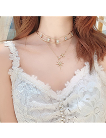 Fashion Gold Eight-pointed Star Double Necklace