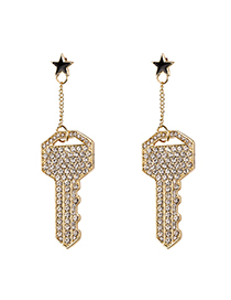Fashion Gold Full Diamond Key Earrings
