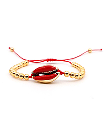 Fashion Red Natural Shell Gold-plated Oil Drop Bracelet