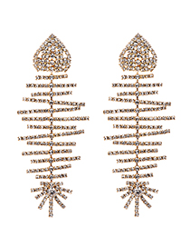 Fashion Gold Alloy Studded Fish Bone Earrings
