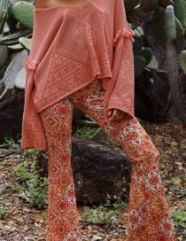 Fashion Orange Kaleidoscope Printed Flared Pants