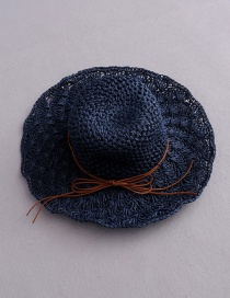 Fashion Navy Bow Pineapple Pattern Foldable Straw Hat