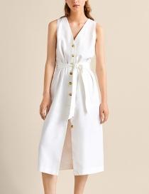 Fashion White Single-breasted Belt Dress