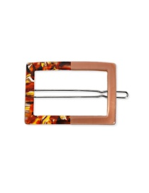 Fashion Hair Clipissuing - Coffee Color Geometric Square Acetate Plate