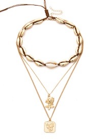 Fashion Golden Shell Rose Micro-embedded Necklace