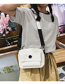 Fashion White Embroidered Planet Canvas Shoulder Bag