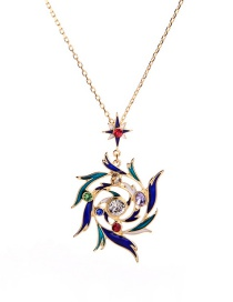 Fashion Color Drip Oil Wreath With Diamond Necklace