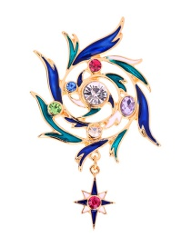 Fashion Color Flower With Diamonds: Dripping Oil: Star Brooch
